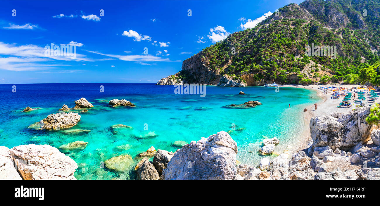 beautiful turquoise beaches of Greek islands - Karpathos, Apella beach Stock Photo