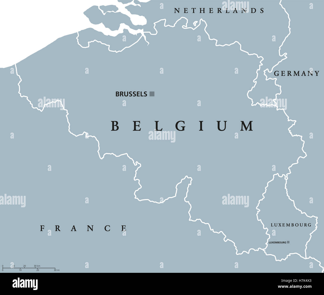 belgium and luxembourg political map with capitals brussels and luxembourg with national borders and neighbor