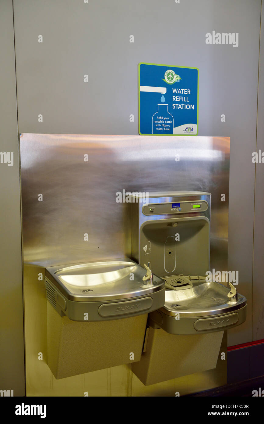 Drinking Fountain Water Refill Station Inside Security