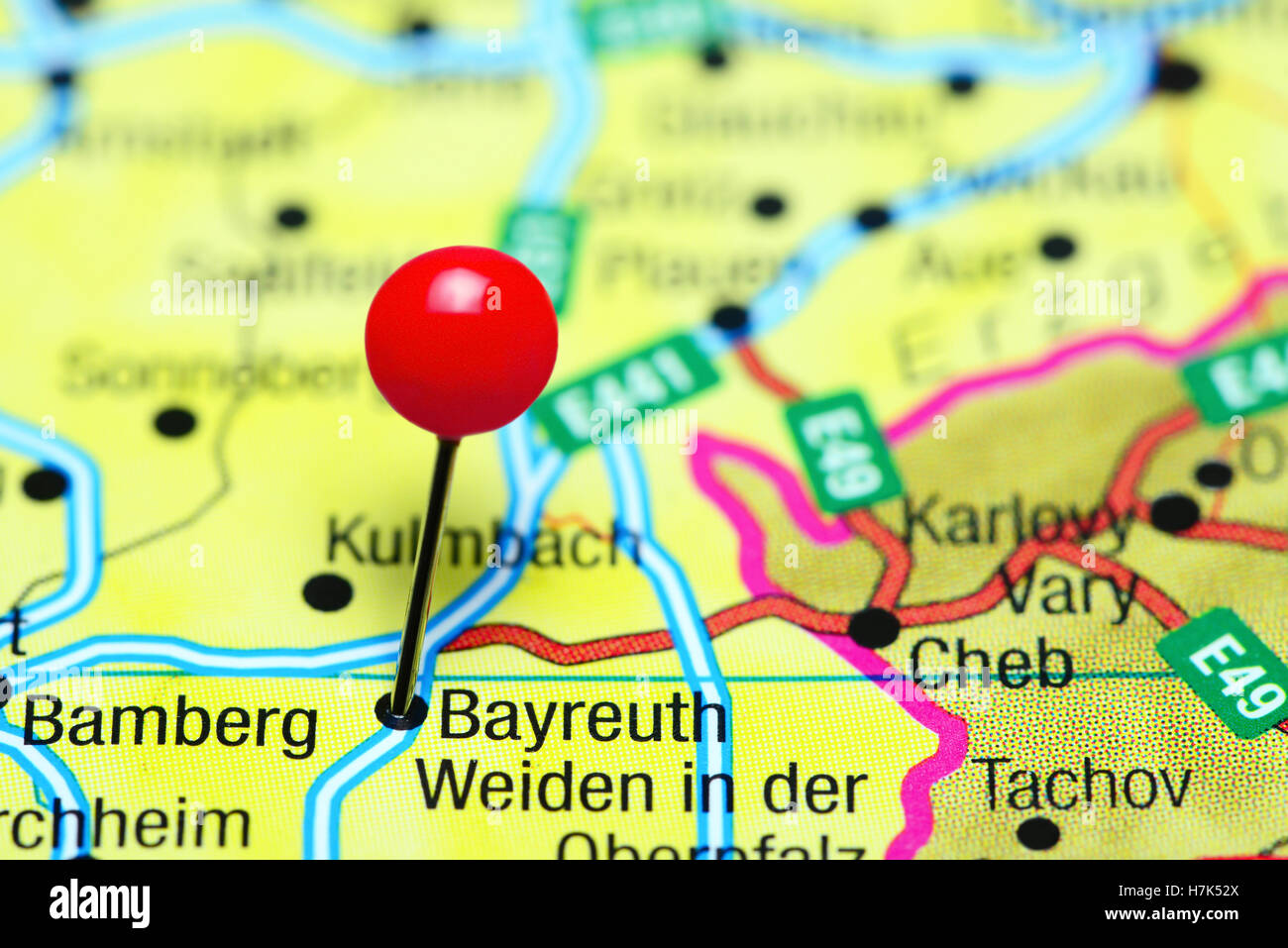 Bayreuth Pinned On A Map Of Germany Stock Photo 125196258 Alamy