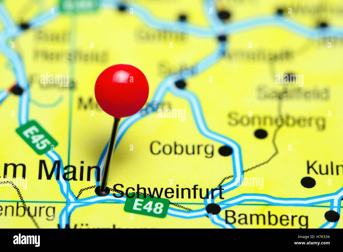 Schweinfurt Pinned On A Map Of Germany Stock Photo 125196264 Alamy