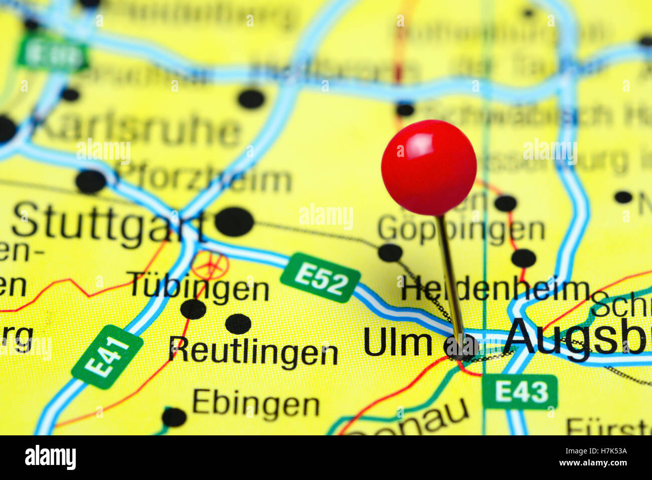 Map Of Germany Ulm.Ulm Pinned On A Map Of Germany Stock Photo 125196270 Alamy
