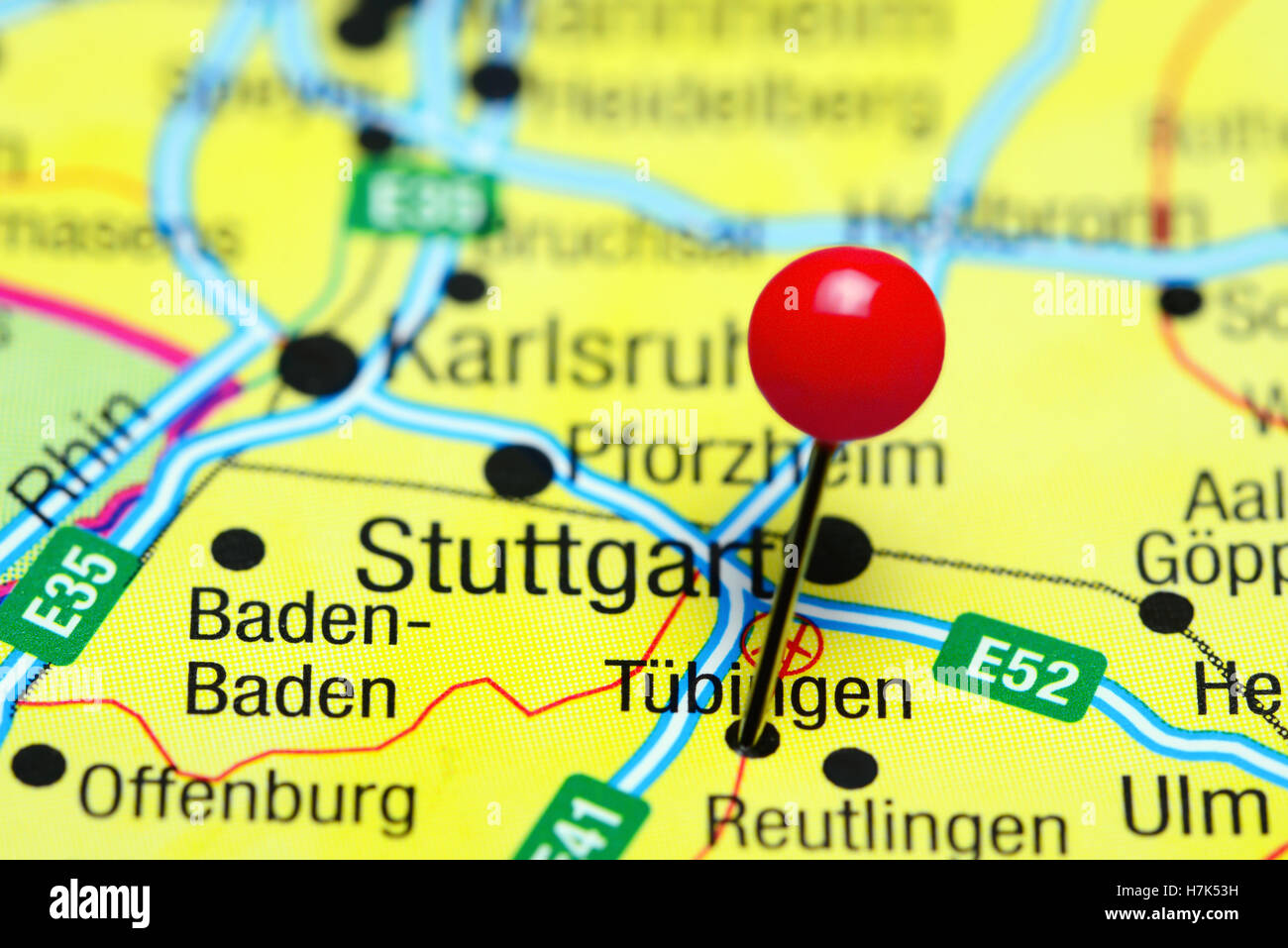 tubingen pinned on a map of germany