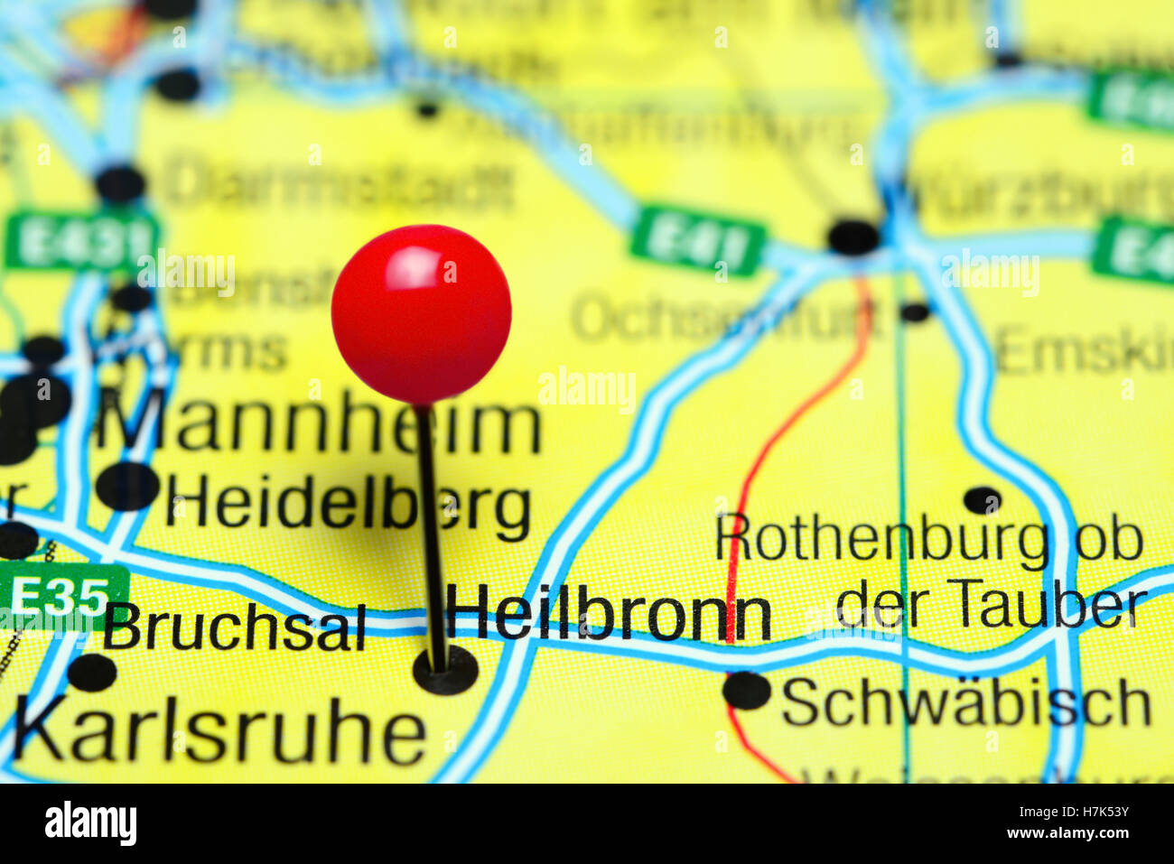 Heilbronn pinned on a map of Germany Stock Photo 125196287 Alamy