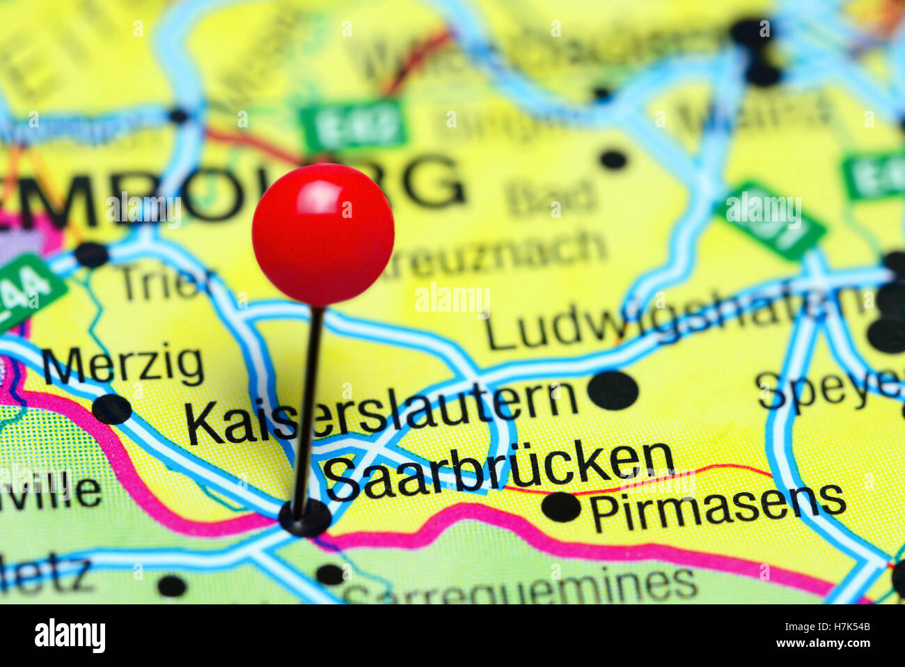 Saarbrucken pinned on a map of Germany Stock Photo