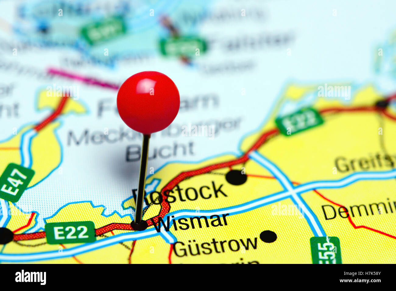 Wismar pinned on a map of Germany - Stock Image