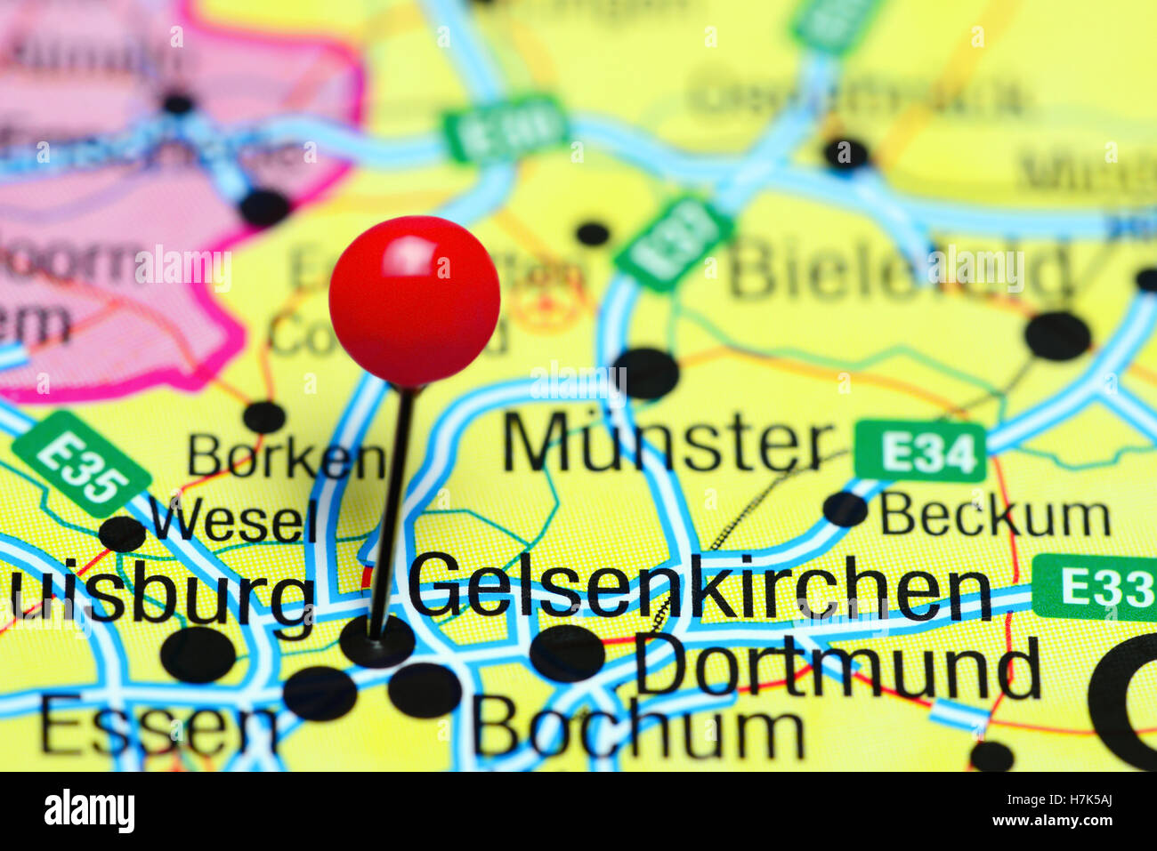 Map Of Germany Gelsenkirchen.Gelsenkirchen Pinned On A Map Of Germany Stock Photo 125196474 Alamy