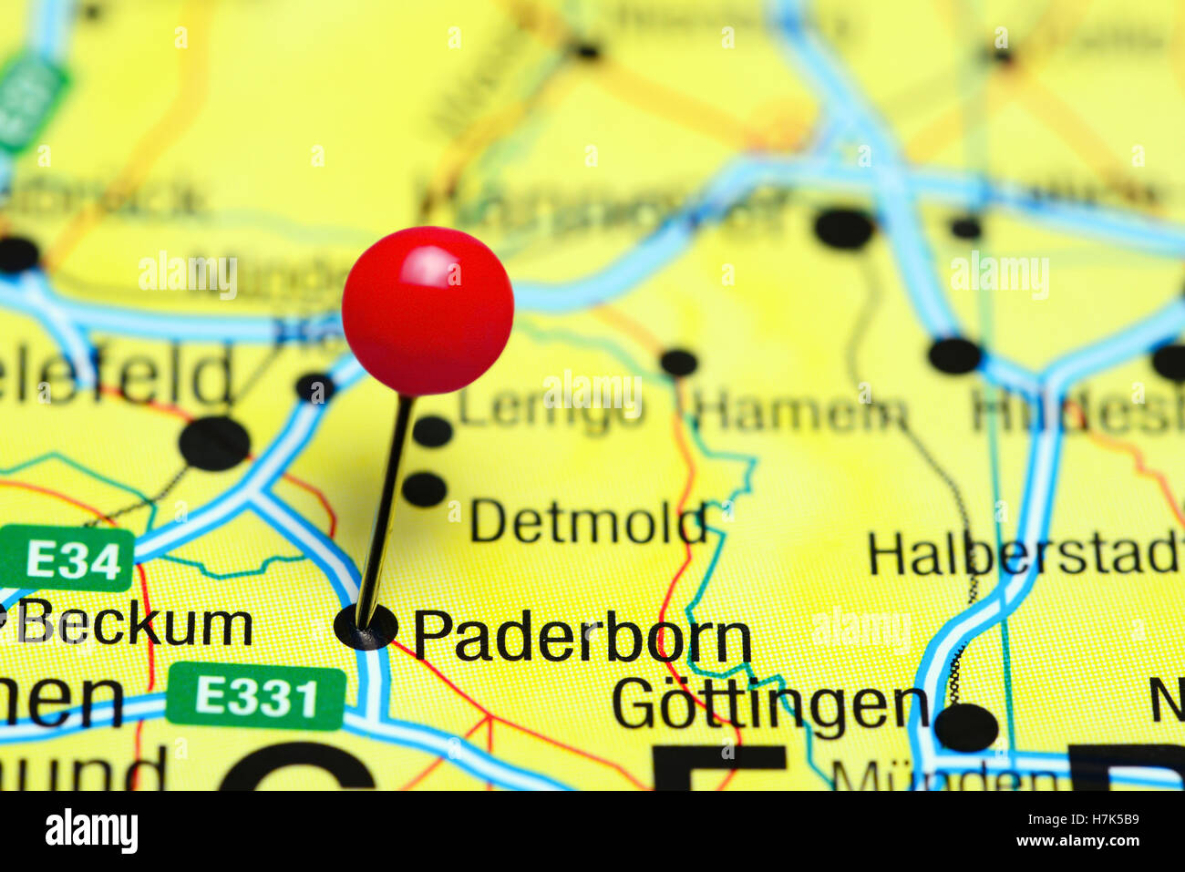 Len Paderborn paderborn pinned on a map of germany stock photo 125196493 alamy