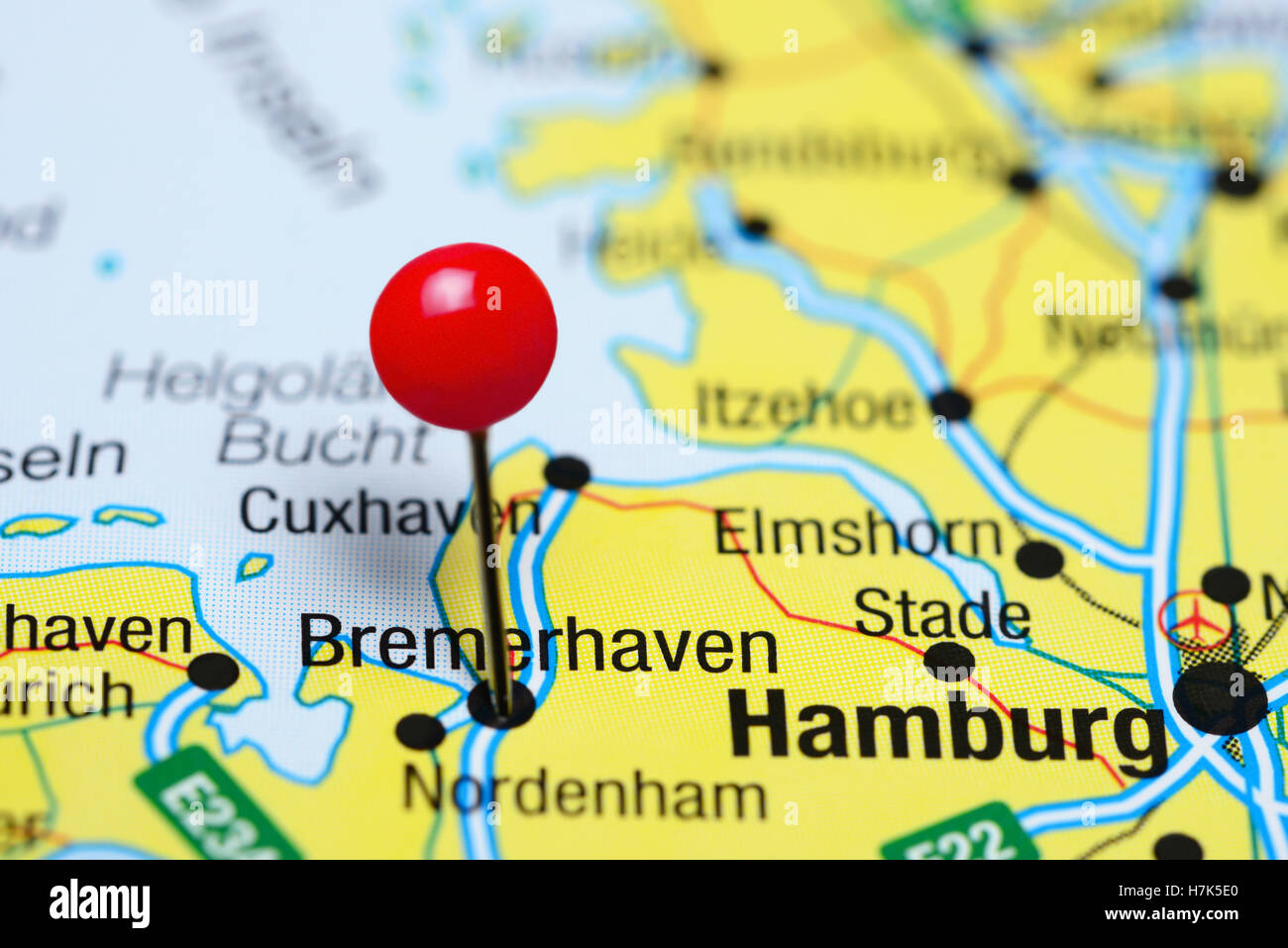 Bremerhaven Pinned On Map Germany Stock Photos & Bremerhaven
