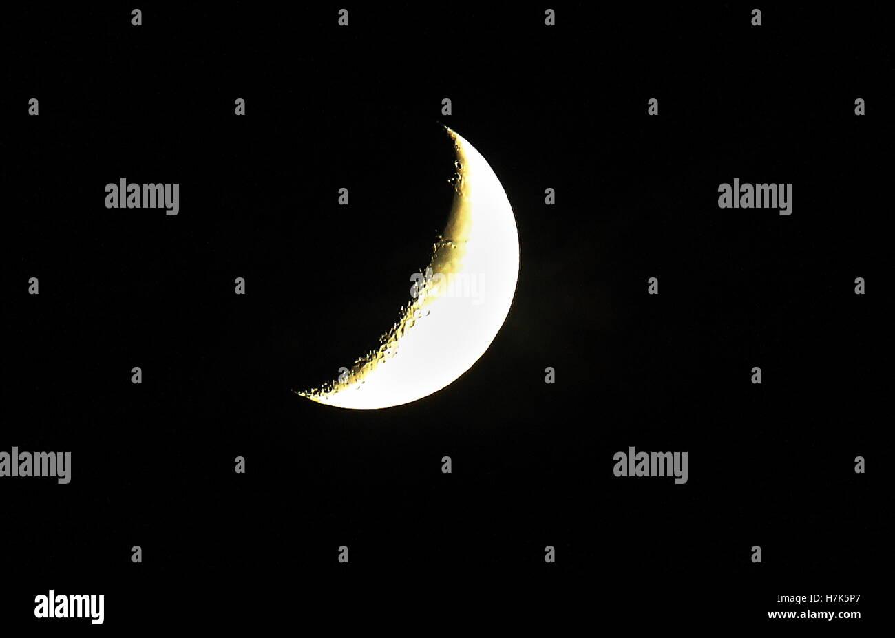 The moon on dark crisp night Stock Photo