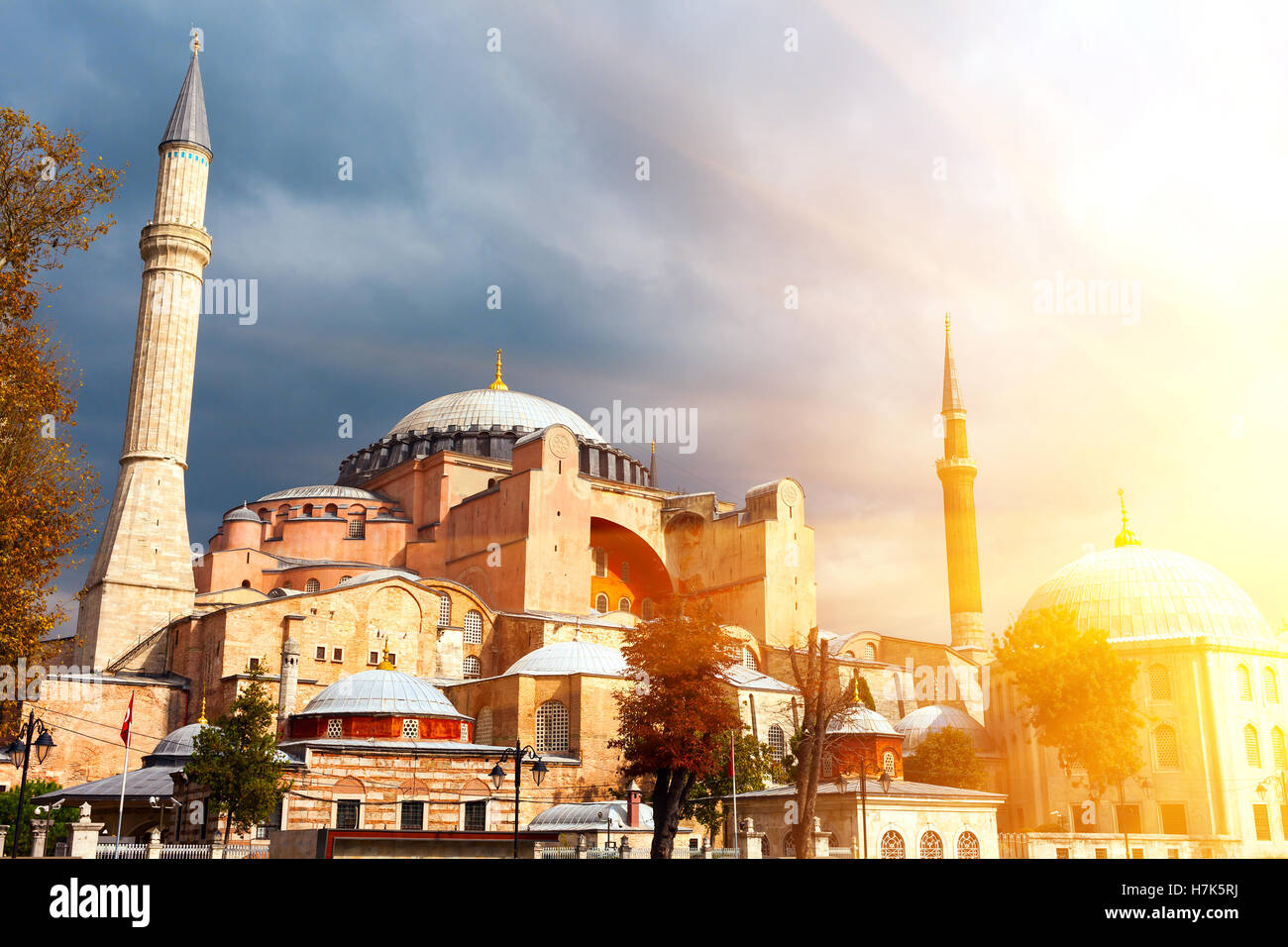 Hagia Sophia in Istanbul. The world famous monument of Byzantine architecture. View of the St. Sophia Cathedral - Stock Image