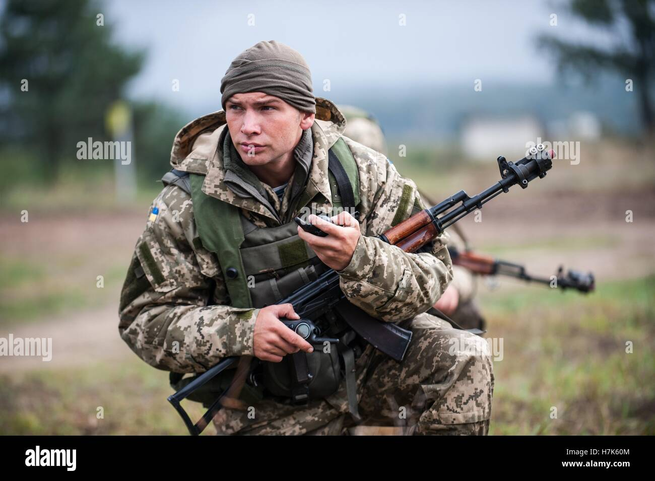 A Ukrainian Marine soldier during an exercise Rapid Trident cordon and search training mission at the International - Stock Image