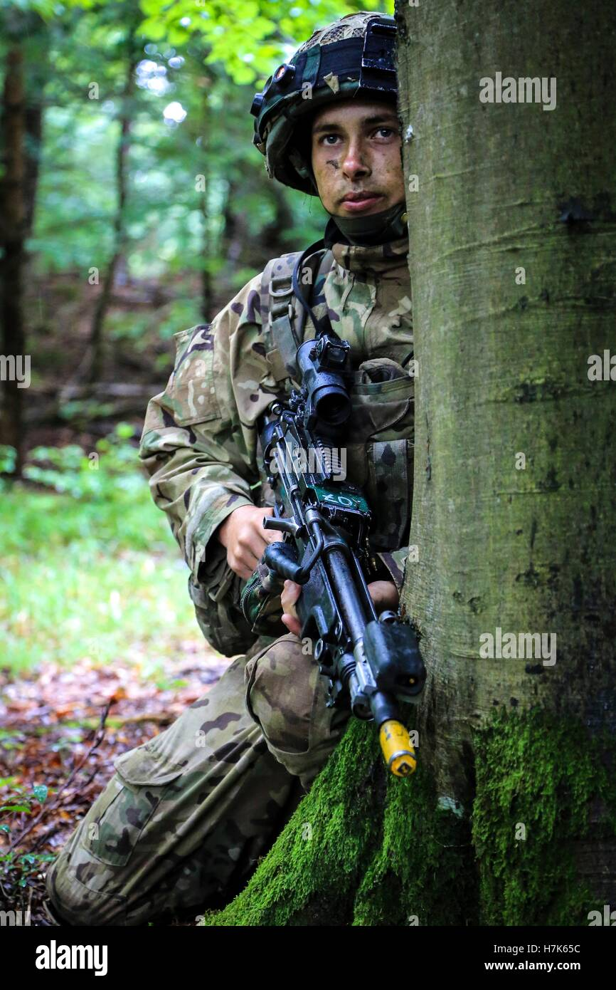A British soldier provides security during an Allied Spirit II field training exercise at the U.S. Army Joint Multinational - Stock Image