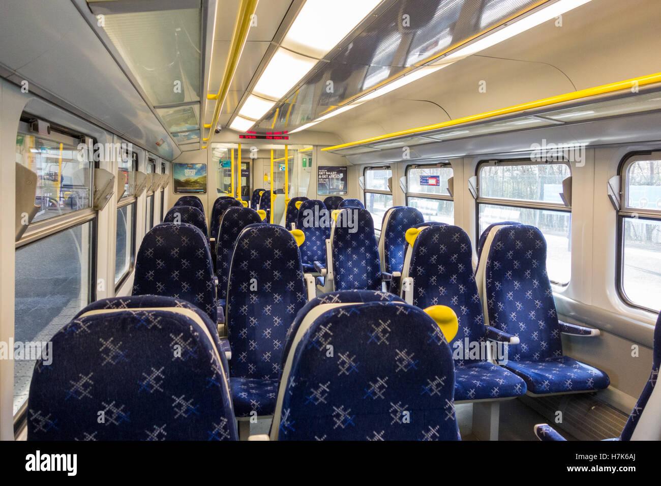 ScotRail train carriage interior, Scotland, UK - Stock Image