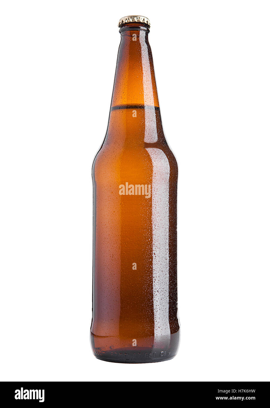 Brown beer bottle cold with frost on white background isolated - Stock Image
