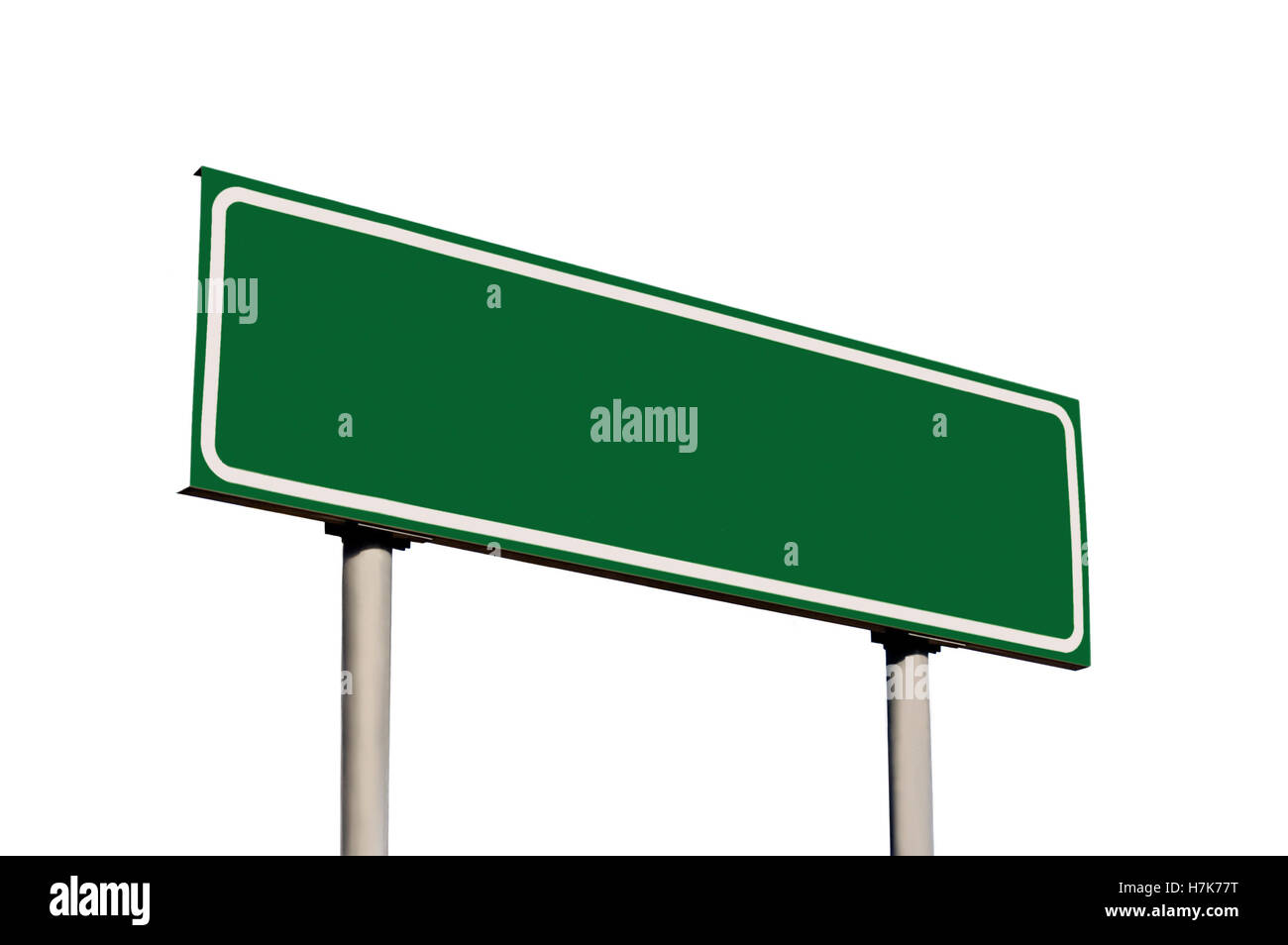 Blank Green Road Sign Isolated Copy Space Background - Stock Image