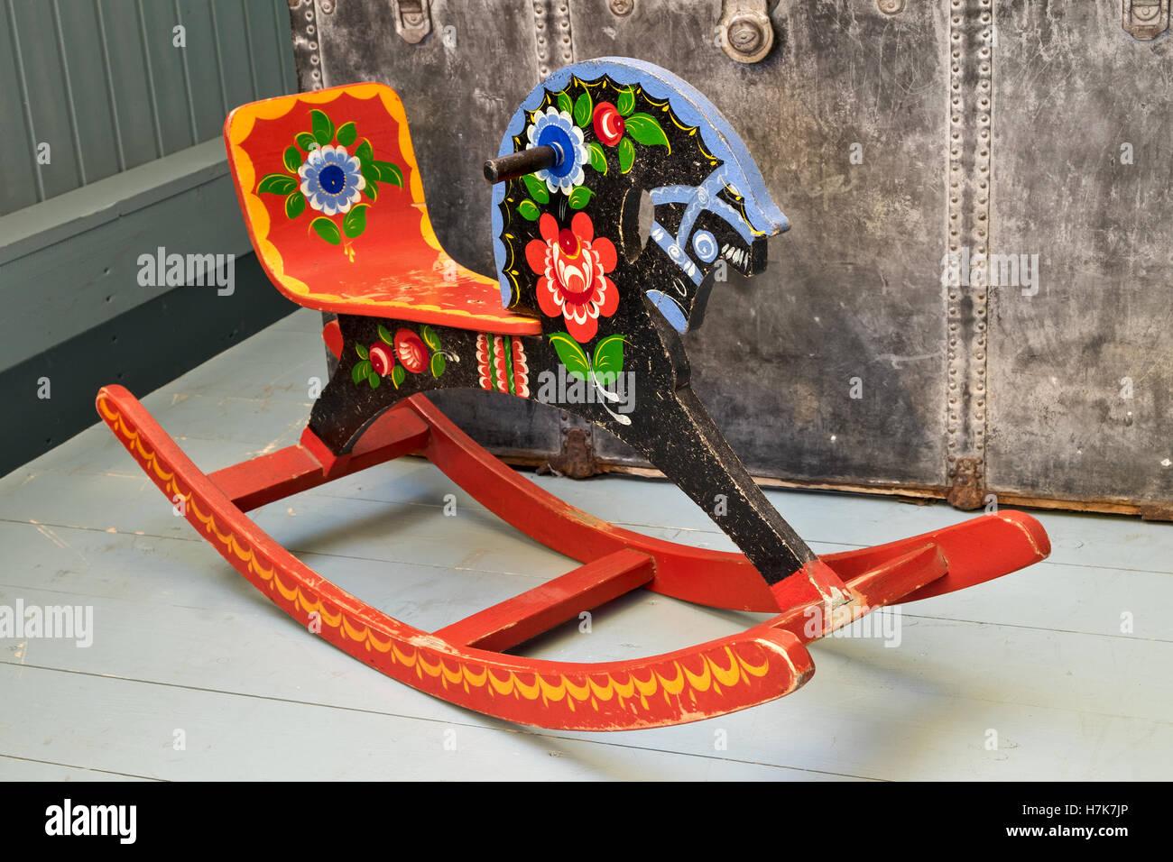 Vintage Russian Rocking Horse Khokhloma Painting Stock Photo Alamy