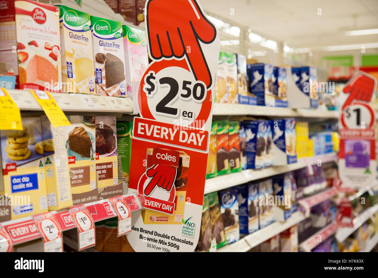 Coles supermarket store in Warriewood Sydney displaying the hands down marketing sign slogan - Stock Image