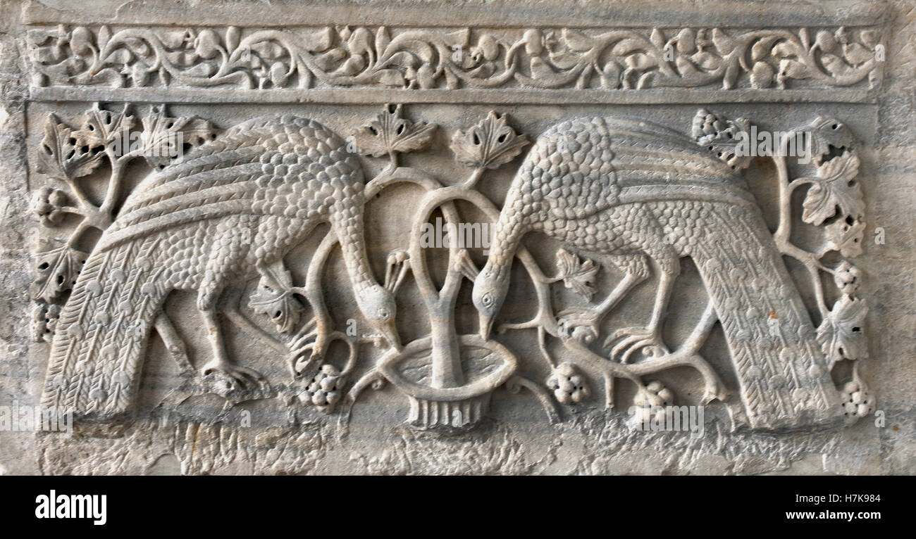 Slab from a Chanel Screen ( Growing vine and peacocks are to symbolize eternal life ) 11-12th Century Constantinople - Stock Image