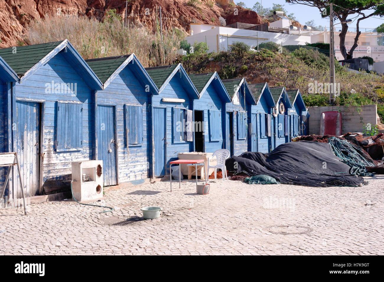 Fisherman's huts on beach near Albufiera in Portugal Stock Photo
