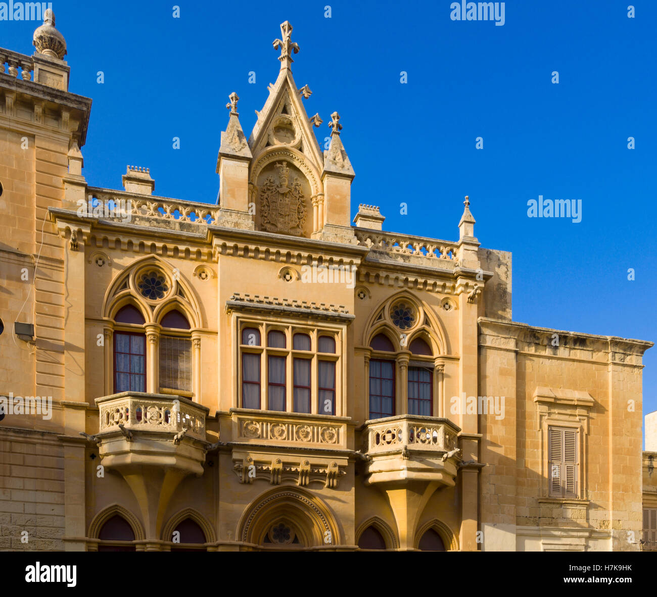 Mdina, old walled city baroque architecture. Gothic-baroque limestone architecture in the cathedral square. - Stock Image