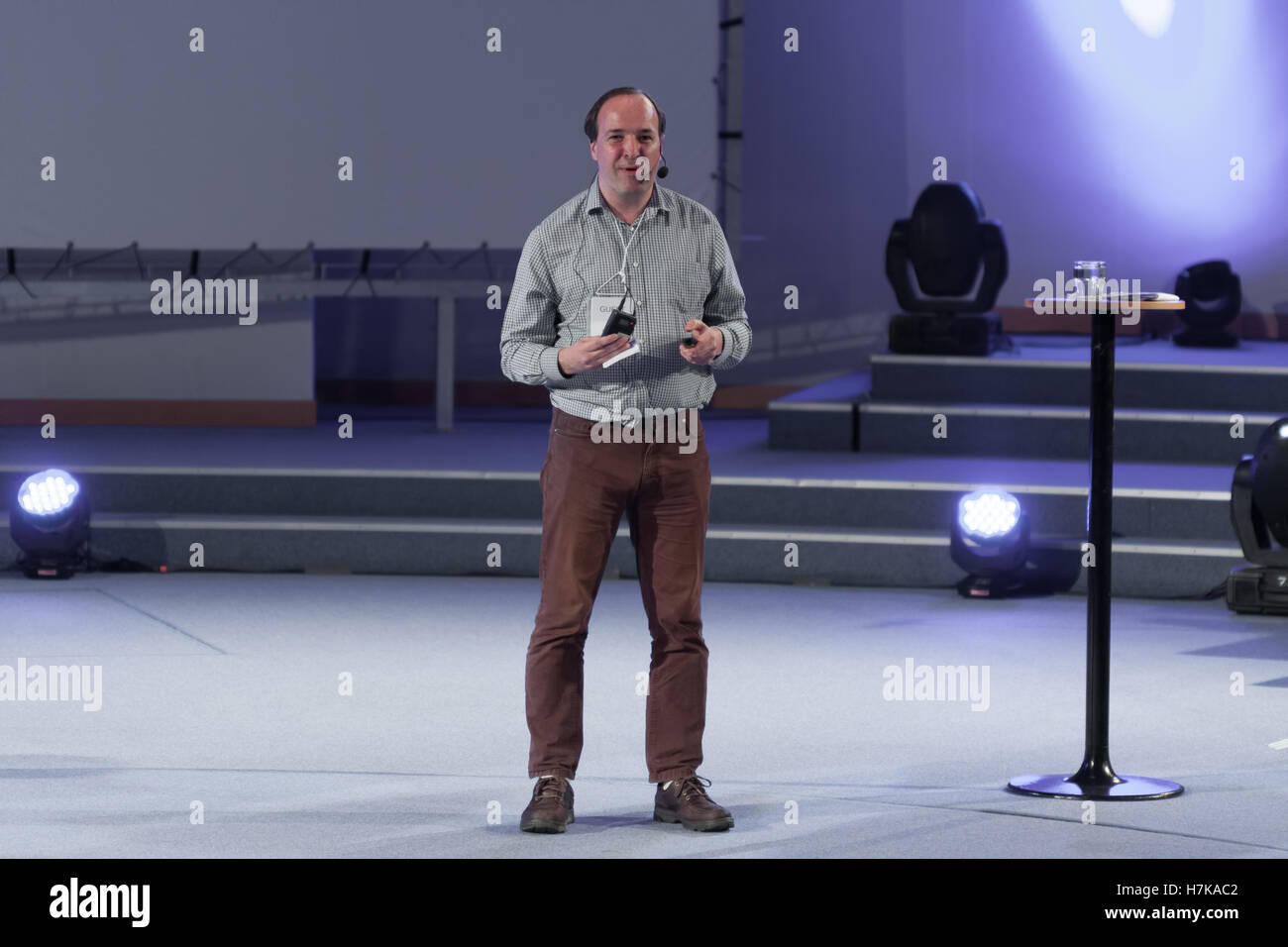 BRNO, CZECH REPUBLIC - APRIL 30, 2016:  Andrew Osmond  during talks about borderline anime  at Animefest, anime - Stock Image