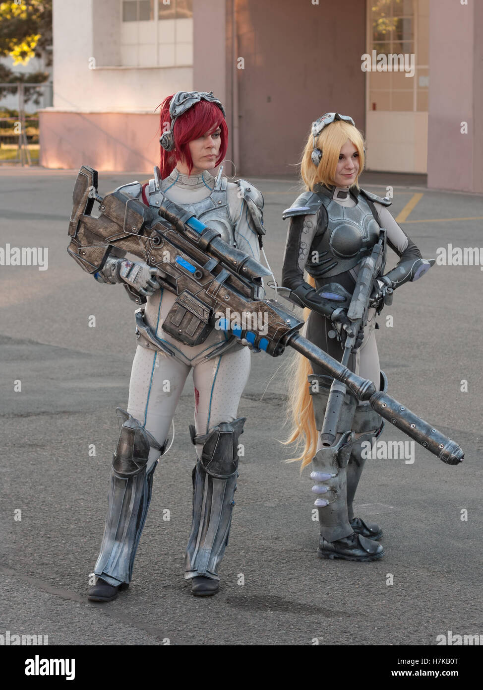 BRNO, CZECH REPUBLIC - APRIL 30, 2016: Two cosplayers dressed as characters  Sarah Kerrigan and Nova Terra  from - Stock Image