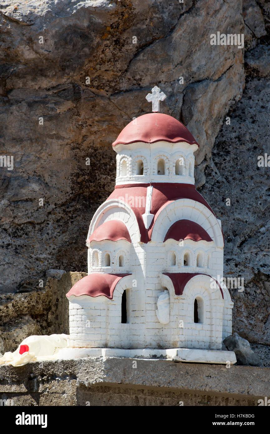 Griechenland, Kreta, Kapelle an der Strasse bei Damasta westlich von Heraklion, - Stock Image