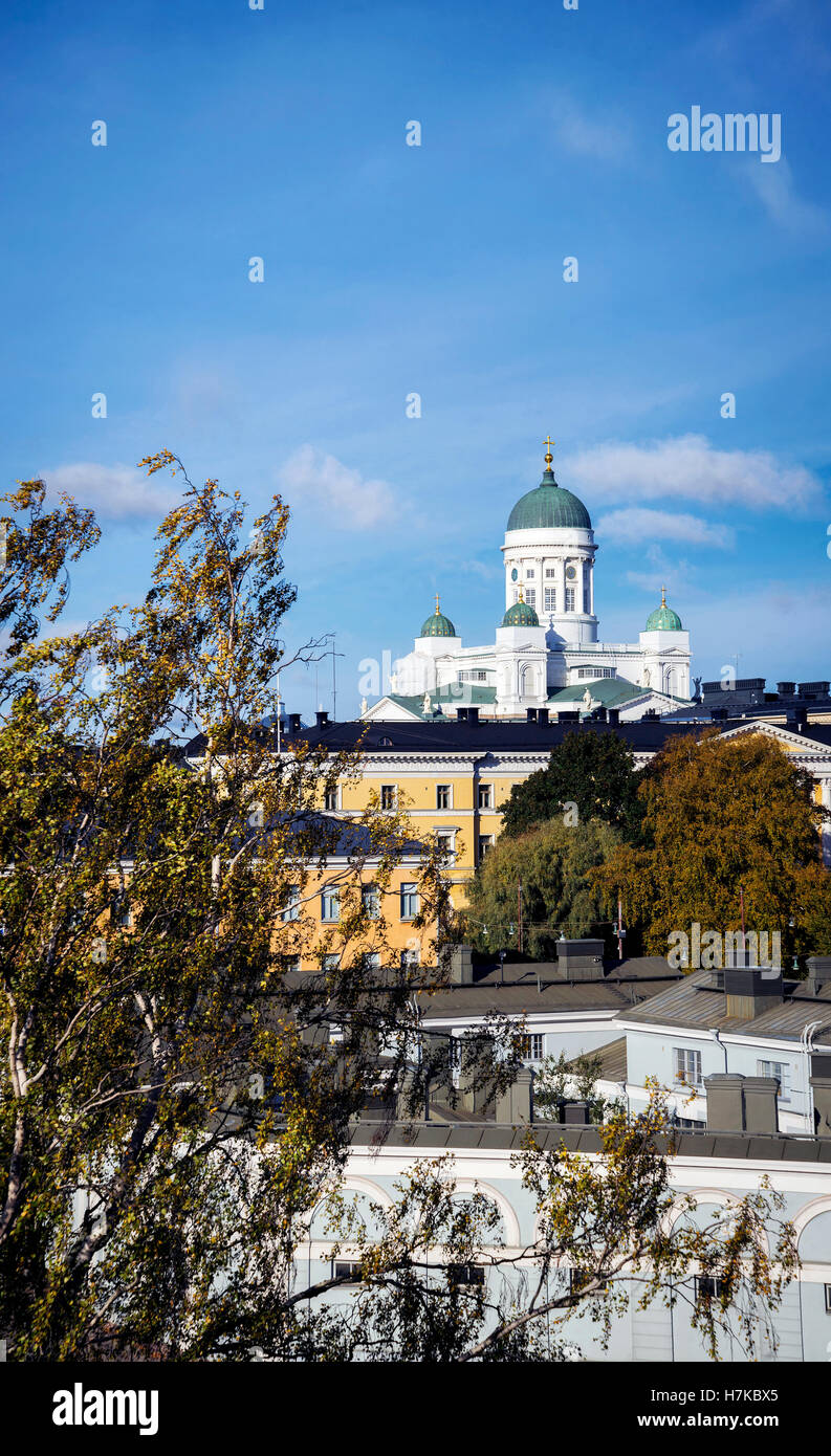 cathedral landmark and central helsinki city view in finland Stock Photo