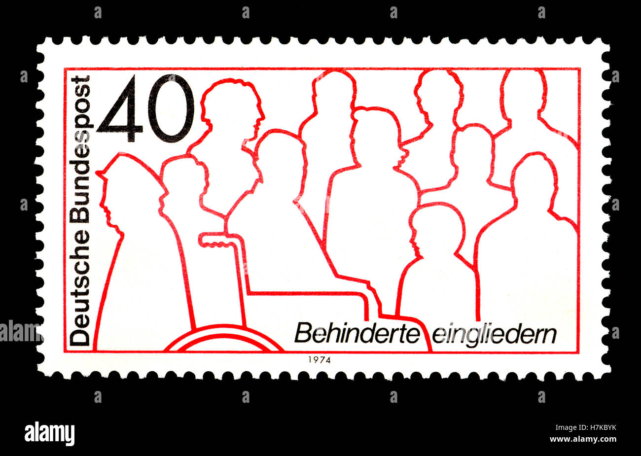German postage stamp (1974)  : Disability integration / rehabilitation - Stock Image