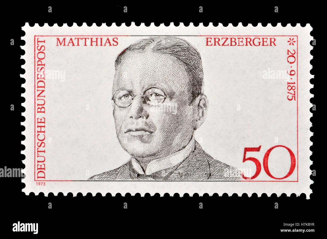 German postage stamp (1975)  : 100th birthday of Matthias Erzberger (1875- 1921) German publicist and politician, - Stock Image