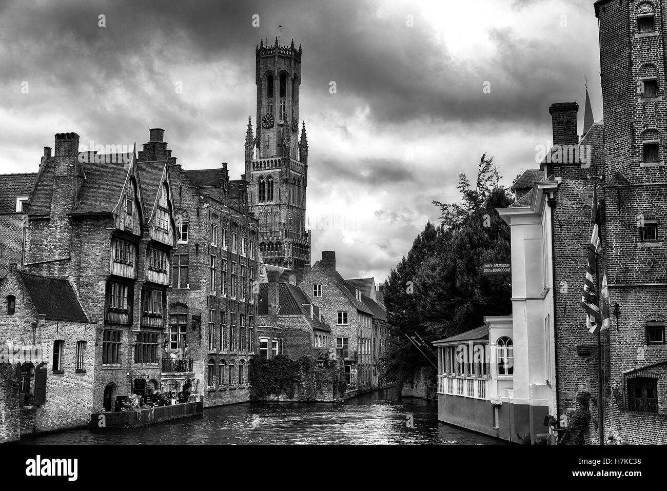 View from the Rozenhoedkaai in Brugge with the Perez de Malvenda house and Belfort van Brugge in the background - Stock Image