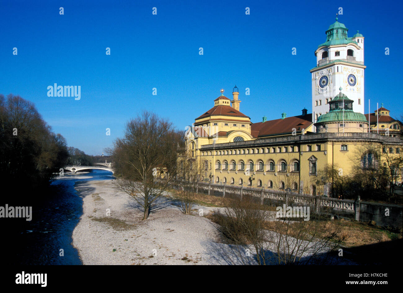 Muellersches Volksbad public swimming pool on the Isar river, Munich, Bavaria - Stock Image
