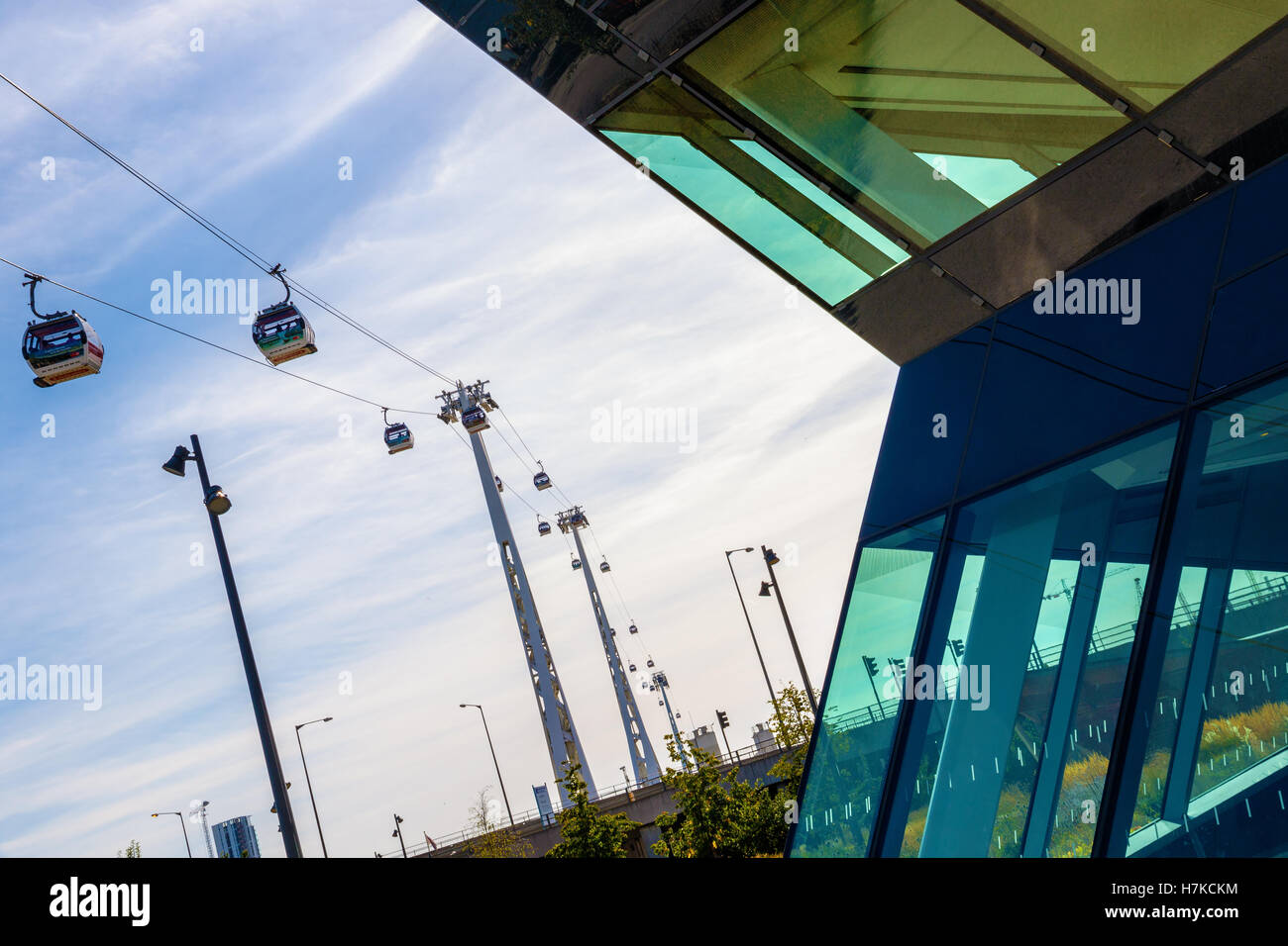 London, UK - August 26, 2016 - The Emirate Air Line or Thames Cable Car at sunset - Stock Image