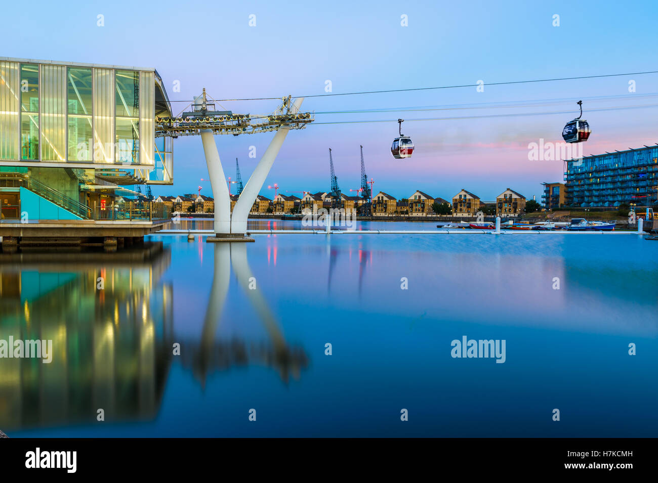 Thames Cable Car at sunset in London - Stock Image