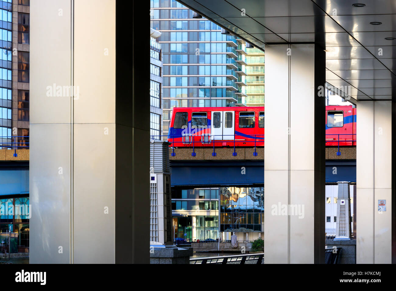 Docklands Light Railway in Canary Wharf, financial district in London - Stock Image