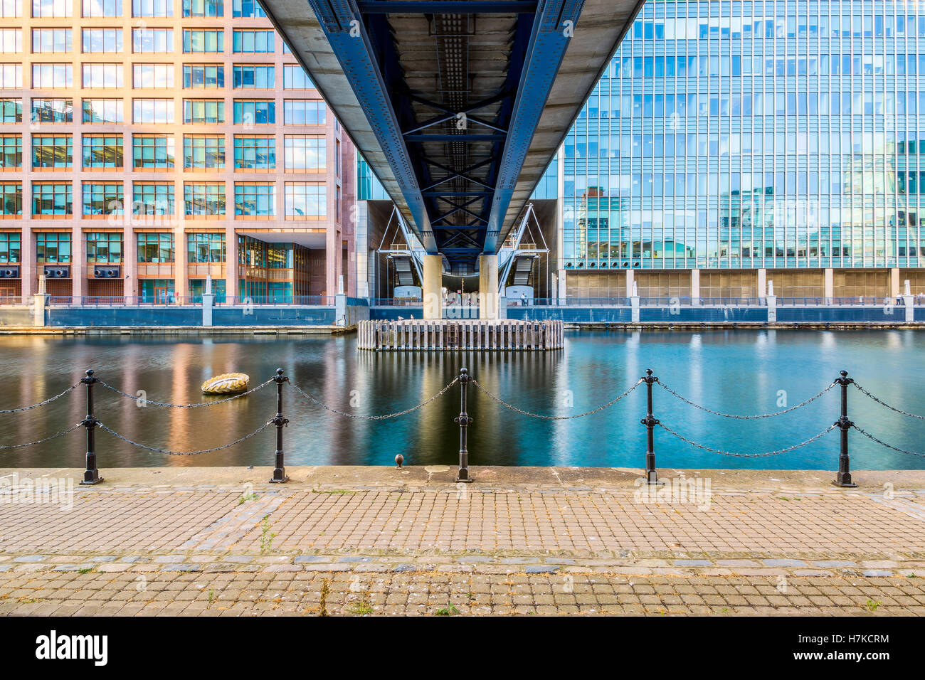 South Dock of Canary Wharf under Docklands Light Railway - Stock Image