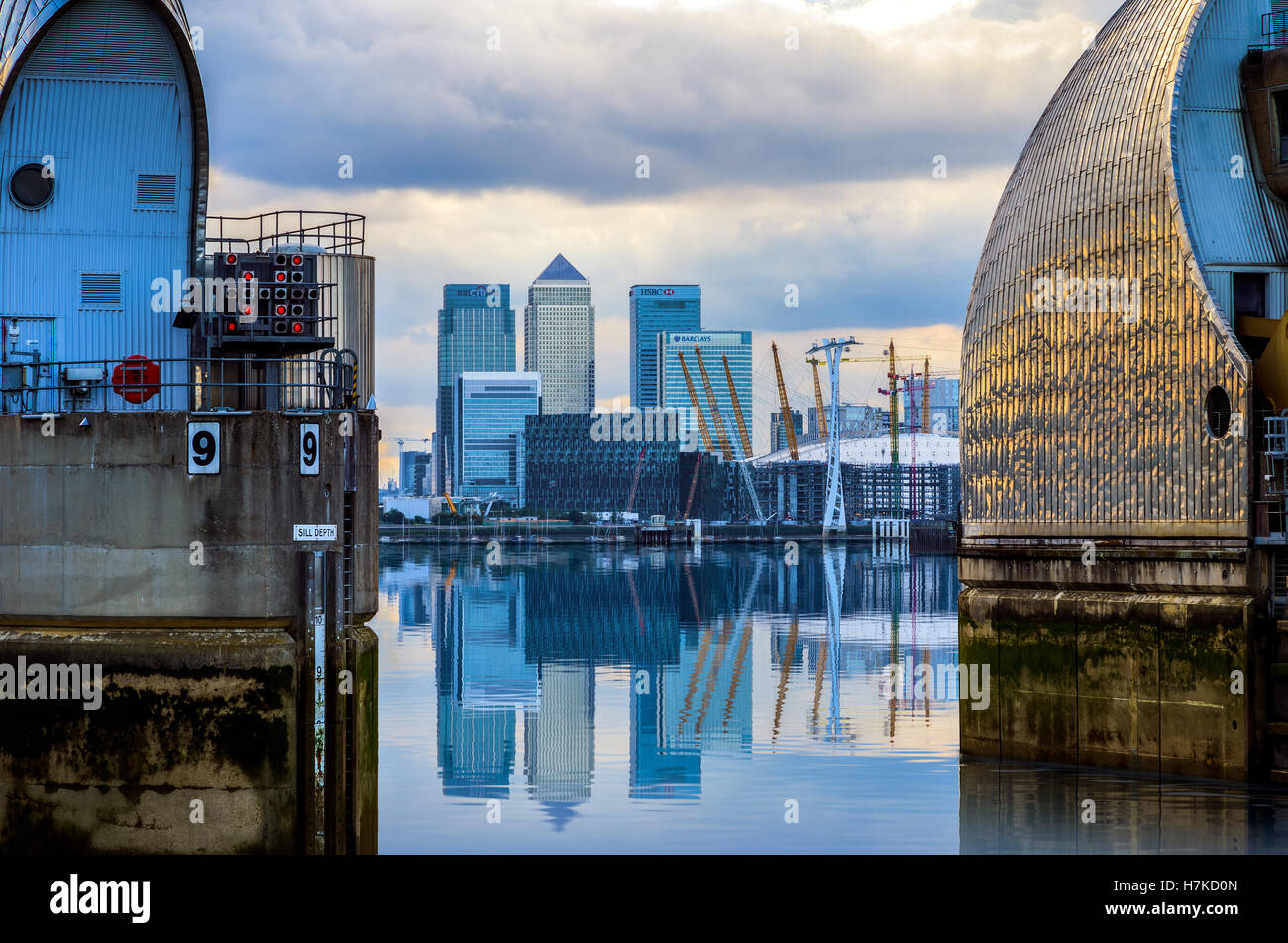London, UK - August 31, 2016 - View of Canary Wharf and O2 Arena from Thames Barrier - Stock Image