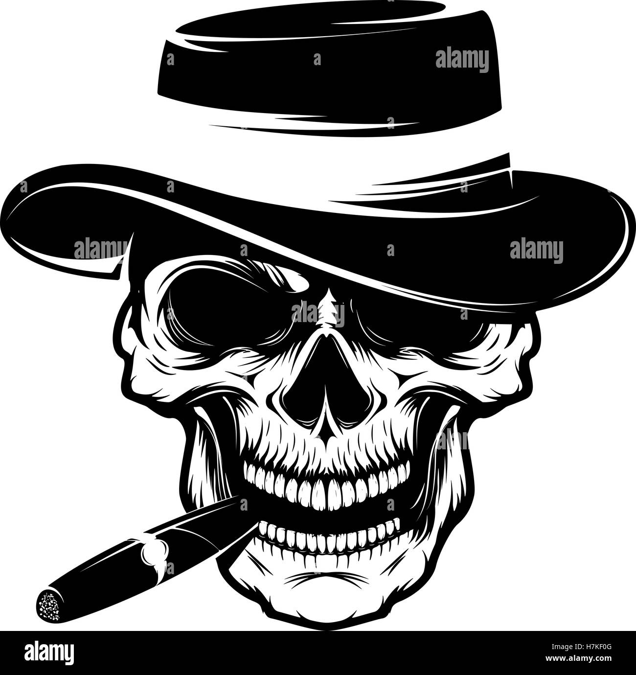 a6ae8f73a785a Skull with cigar and hat. Design element for emblem