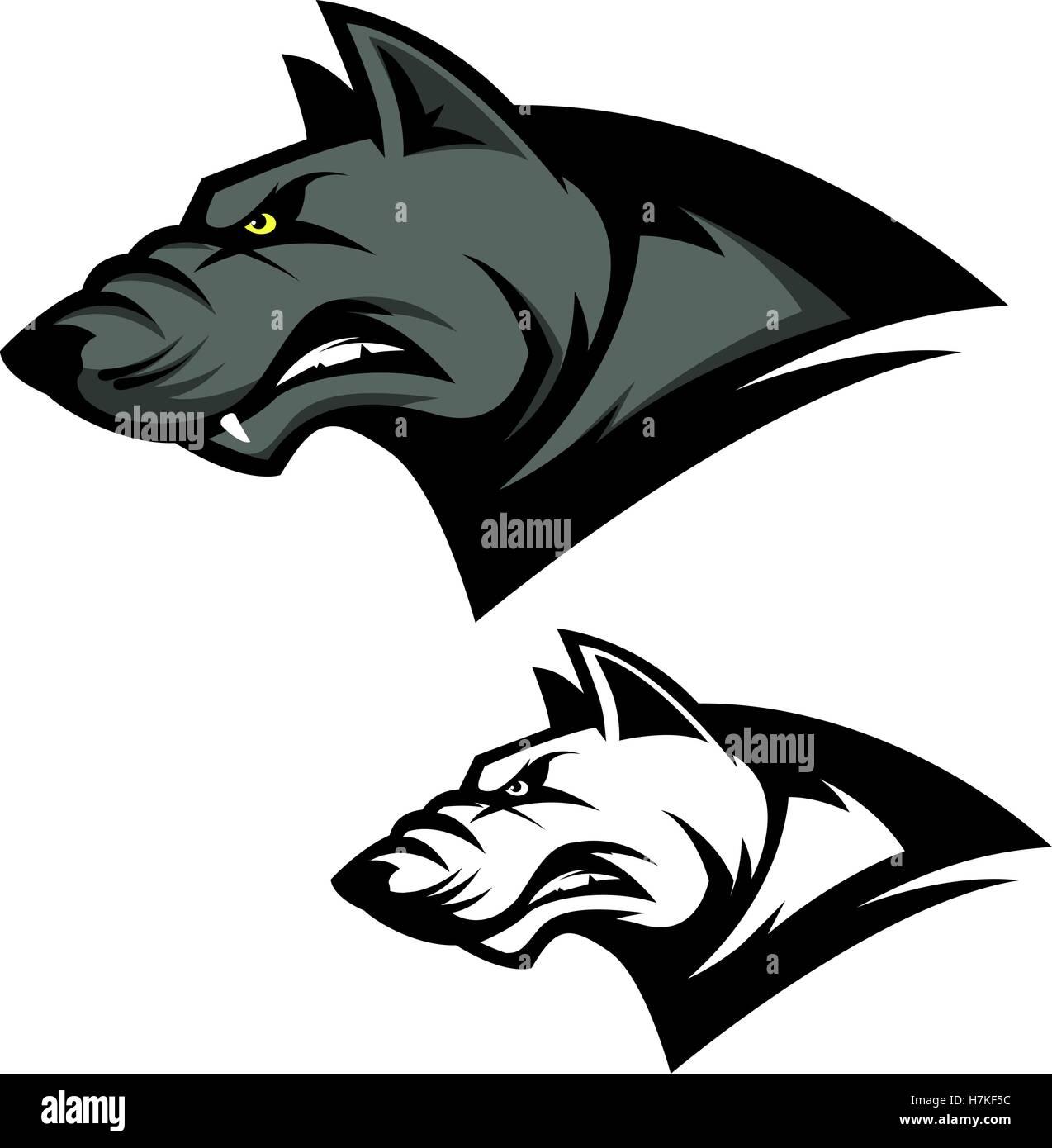 573658f42 Angry wolf head. Sport team mascot. Design element for logo, label, emblem,  sign, brand mark. Vector illustration.