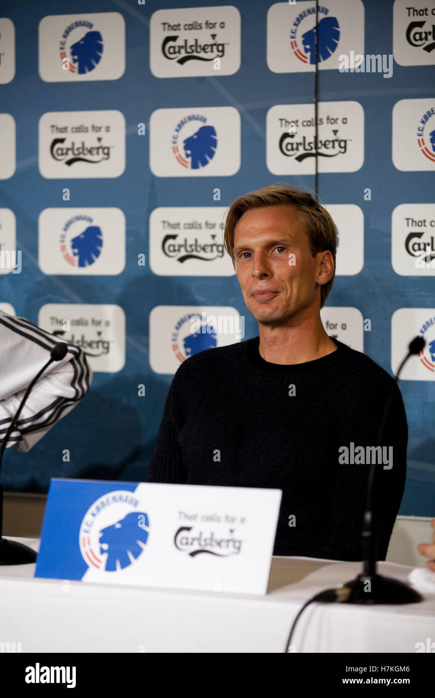 Danish footballer Christian Poulsen signs with FC Copenhagen. - Stock Image