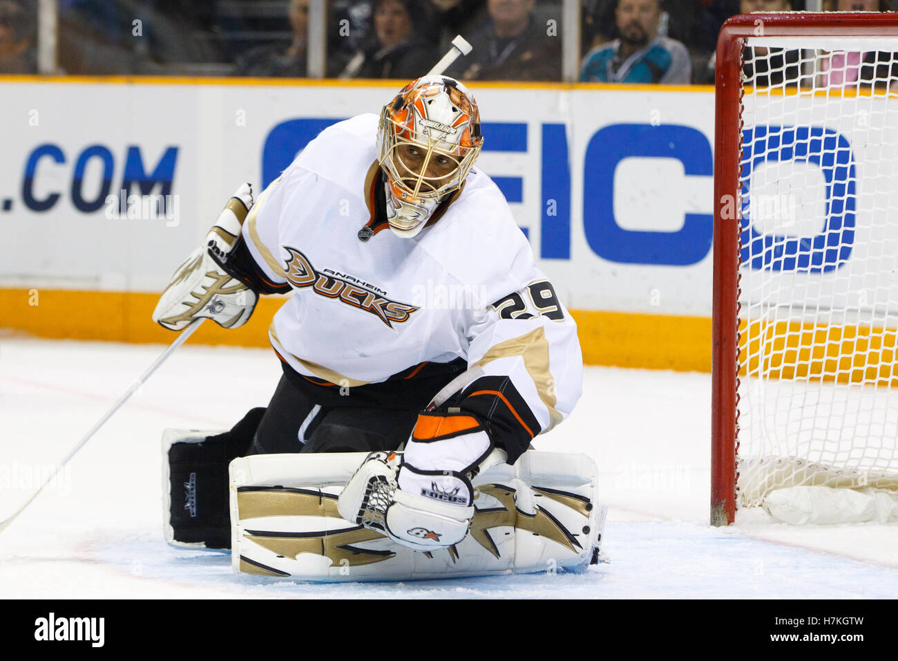 April 2, 2011; San Jose, CA, USA;  Anaheim Ducks goalie Ray Emery (29) makes a save against the San Jose Sharks - Stock Image