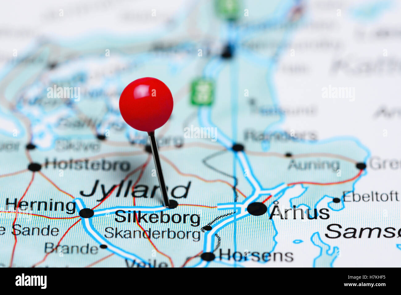 Silkeborg pinned on a map of Denmark Stock Photo: 125206009 - Alamy