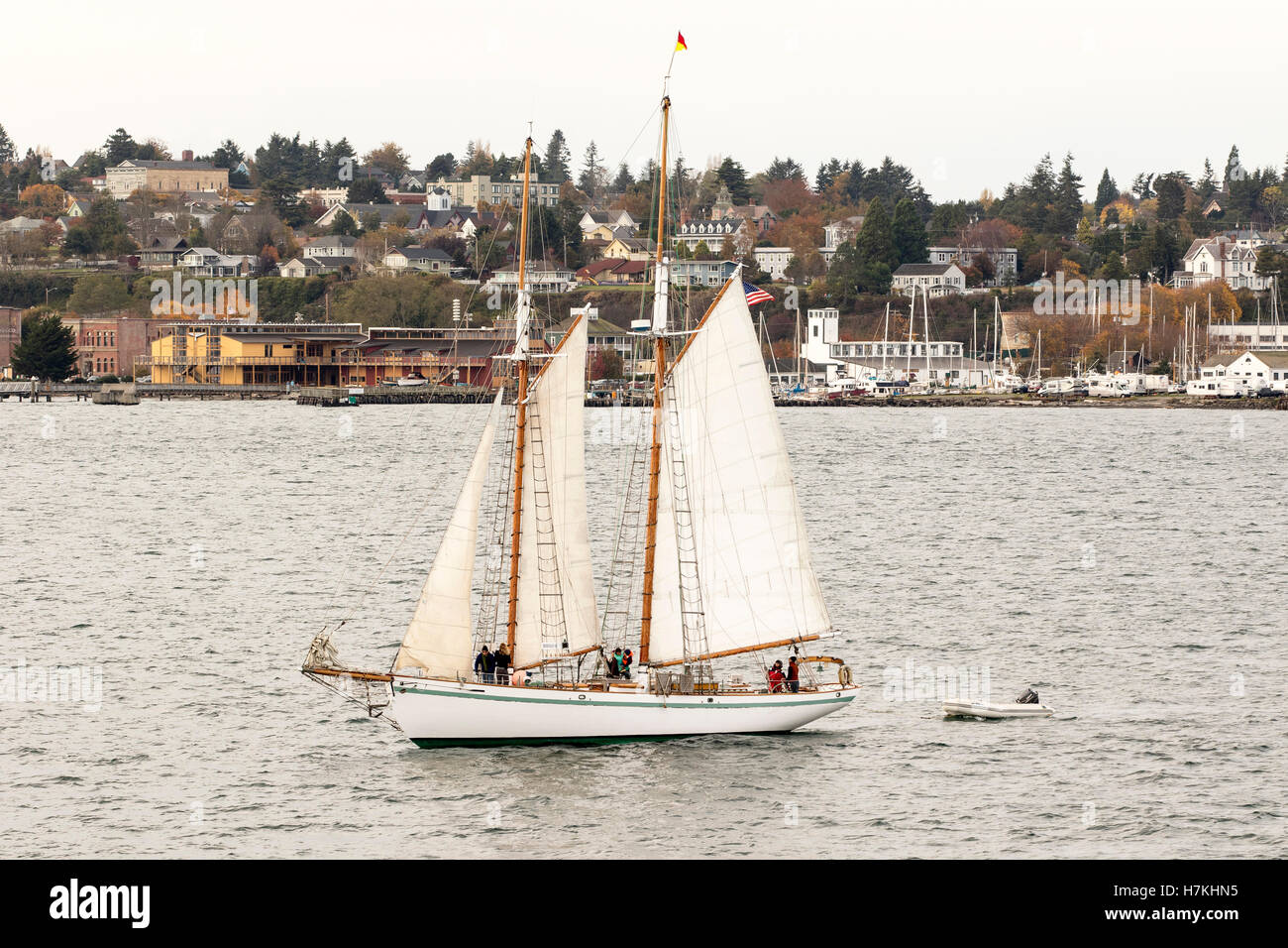 Port Townsend sailing boat, sailboat wooden schooner yacht , Puget Sound, Washington with Northwest Maritime Center. - Stock Image