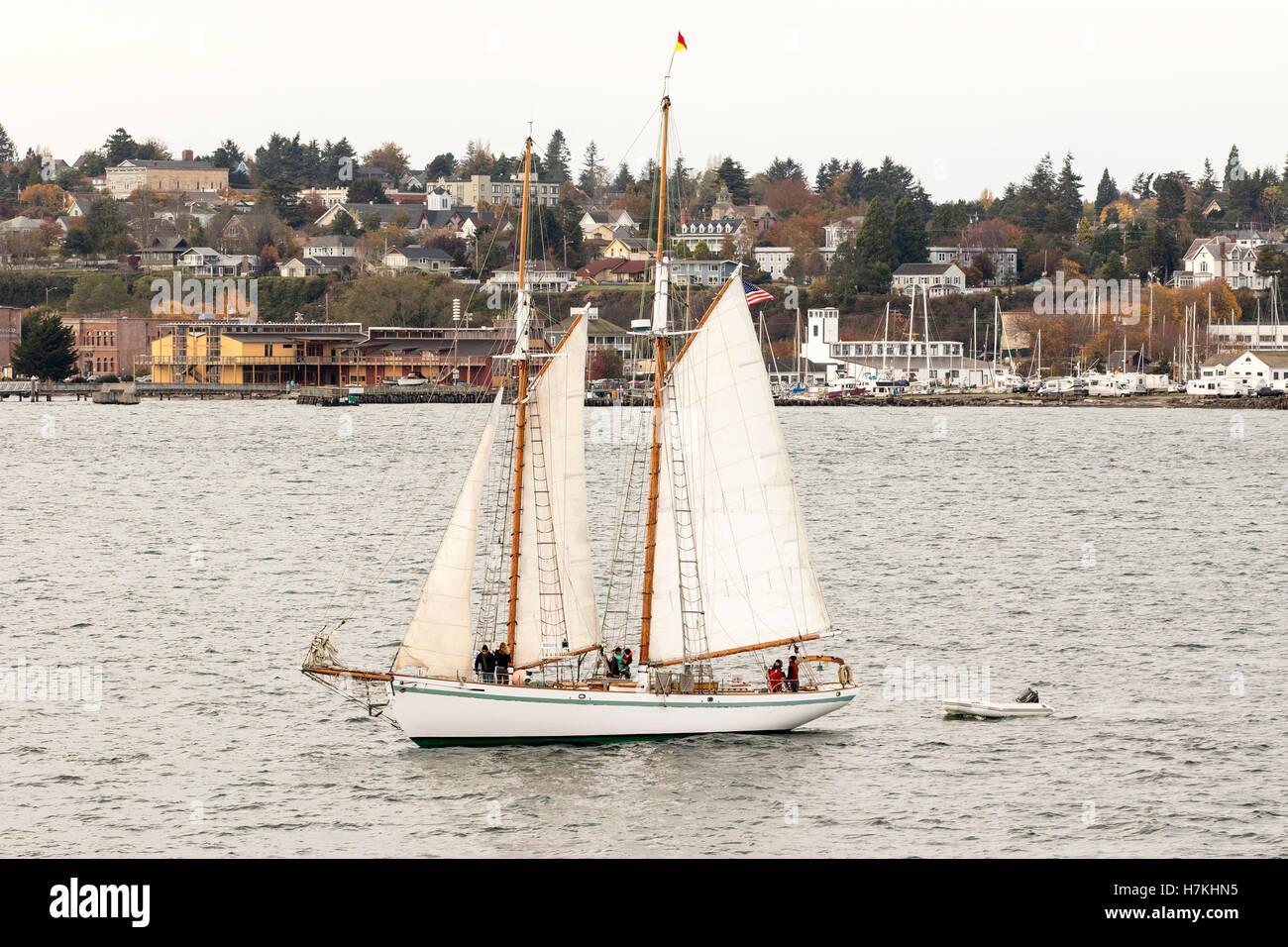 Sailing boat, sailboat wooden schooner yacht on Port Townsend Bay, Puget Sound, Washington with Northwest Maritime - Stock Image