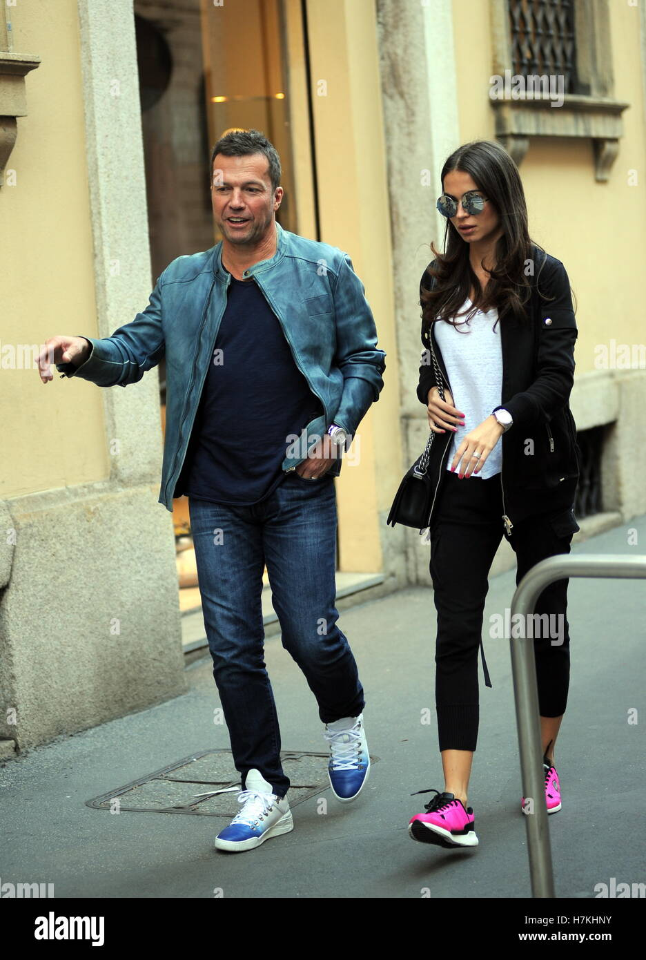 Lothar Matthaus and his wife Anastasia Klimko seen shopping and having lunch in Via Montenapoleone  Featuring: Lothar Stock Photo