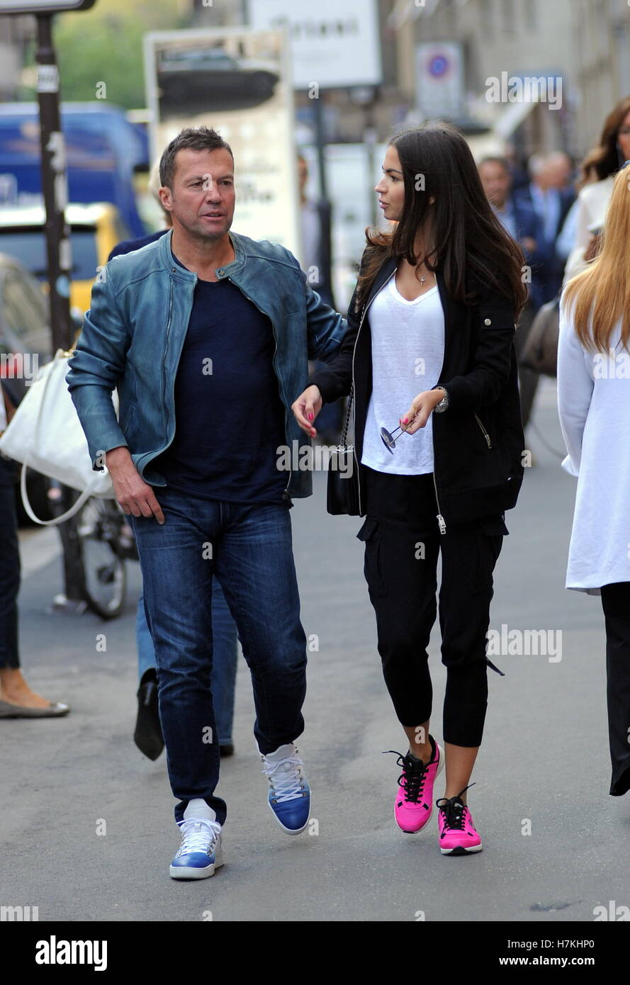 Lothar Matthaus and his wife Anastasia Klimko seen shopping and having lunch in Via Montenapoleone  Featuring: Lothar Matthaus, Anastasia Klimko, Lothar Matthäus Where: Milan, Italy When: 05 Oct 2016 Credit: IPA/WENN.com  **Only available for publication Stock Photo
