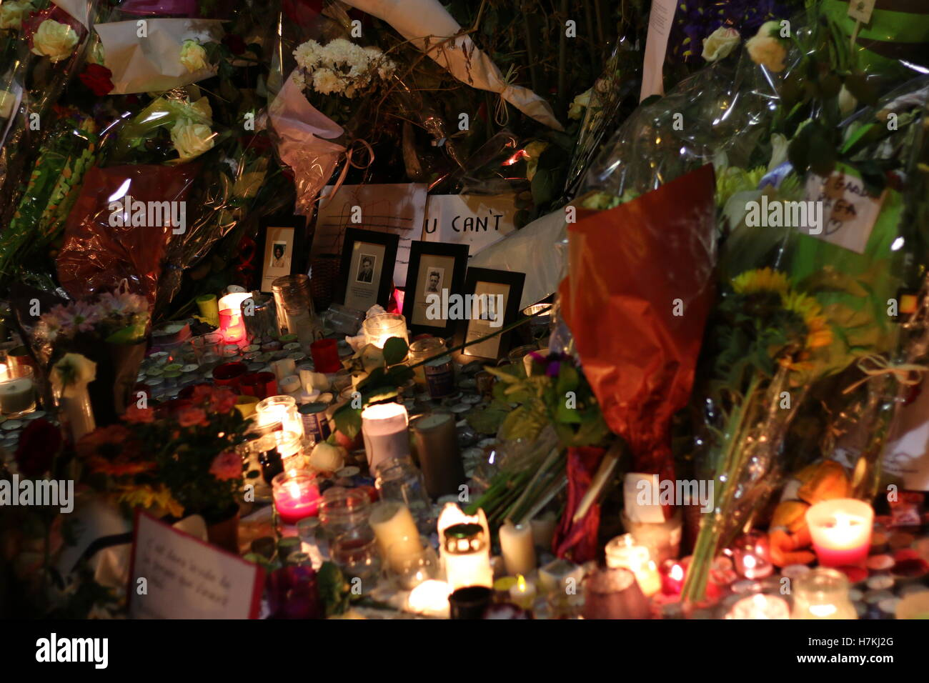 A memorial is held for those who died in the Paris terror attacks - Stock Image