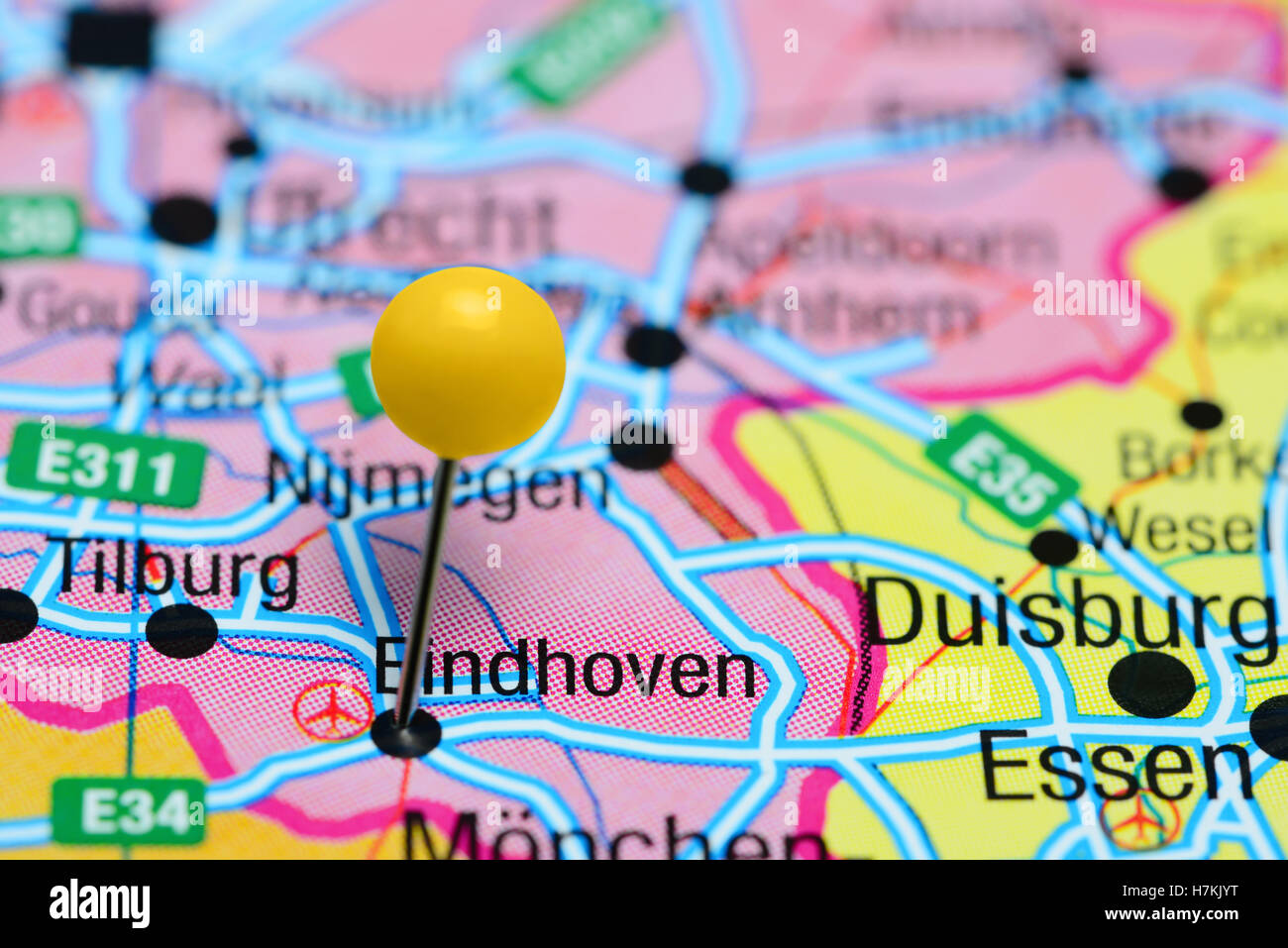 Eindhoven pinned on a map of Netherlands Stock Photo: 125207148 - Alamy