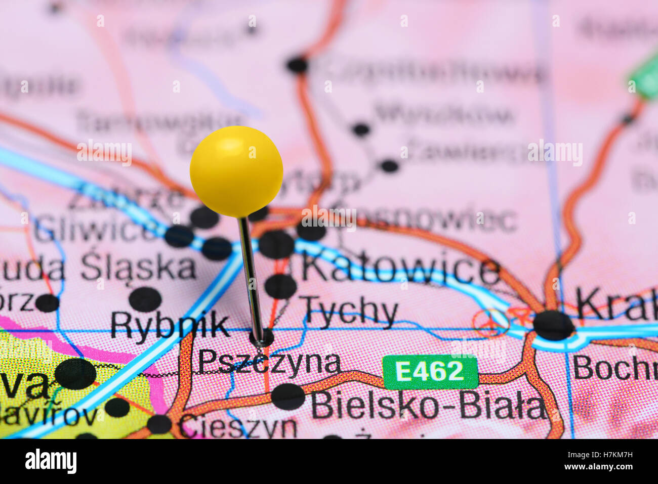 Pszczyna pinned on a map of Poland - Stock Image